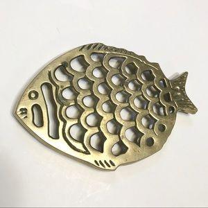 Vintage Brass Metal Fish Hotplate Art Home Decor